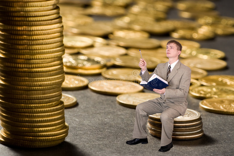 Download Young  Businessman Count Money Stock Image - Image: 503087