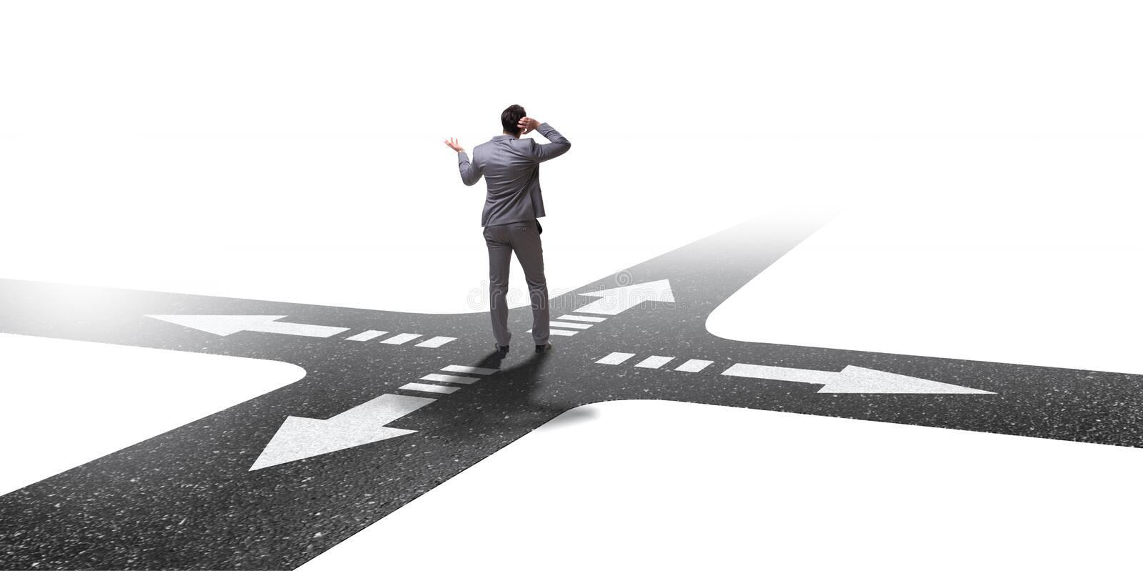 The young businessman at crossroads in uncertainty concept royalty free stock images