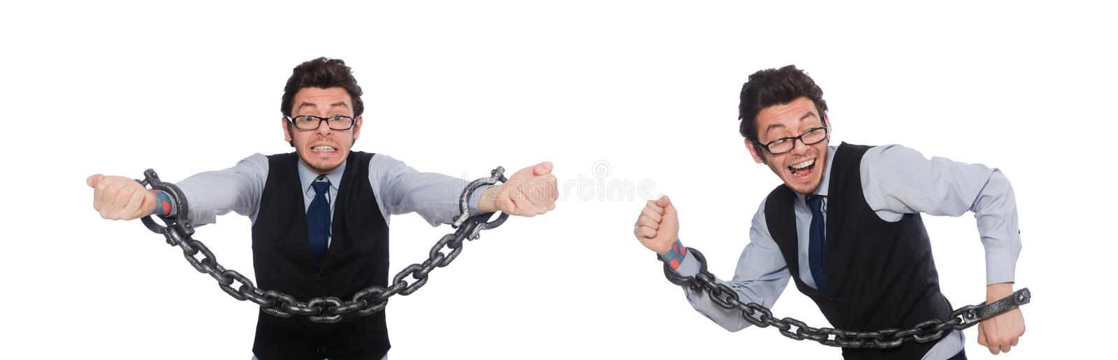 Young businessman with cuffs isolated on white stock image