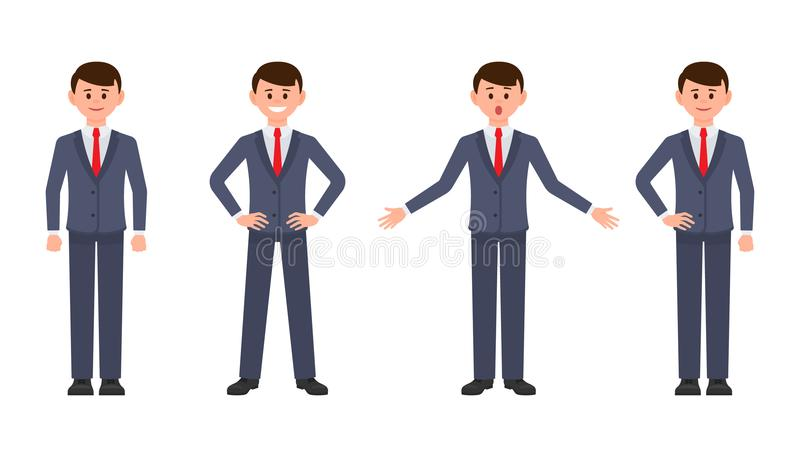 Young businessman in dark blue suit cartoon character. Vector illustration of smart male clerk in different poses. royalty free illustration