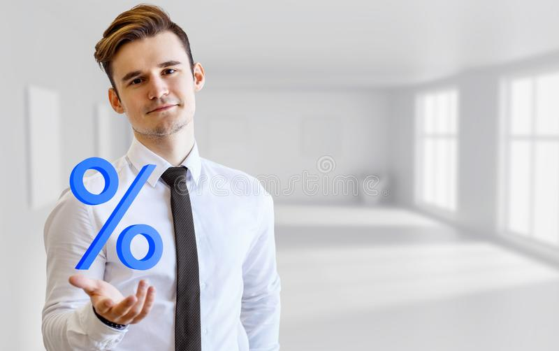 Young businessman demonstrate virtual percent. stock photo