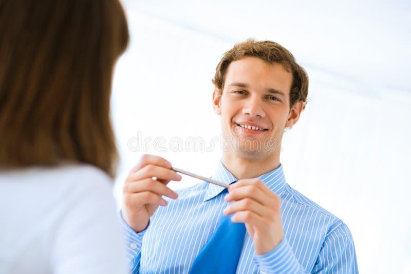 Young businessman doing interviews stock photos