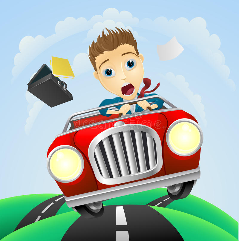 Young businessman driving fast classic car