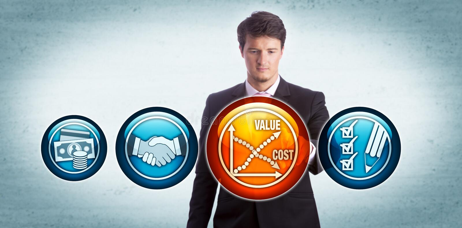 Young Man Evaluating Value Versus Cost Of A Deal. Young businessman evaluating cost-effectiveness of a deal by touching a chart icon depicting rise of value royalty free stock image