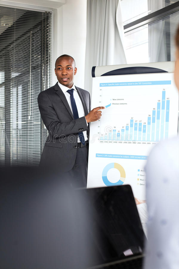 Young businessman explaining graph while giving presentation in office.  stock images