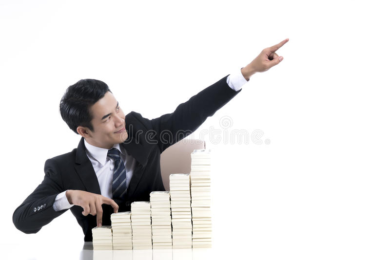 Young businessman with finger walking up the stair and high hand stock images