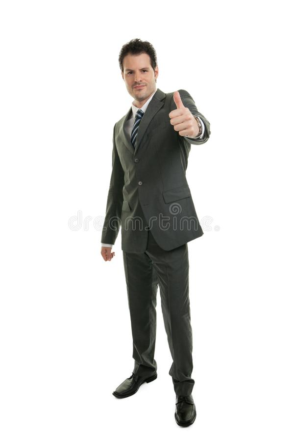 Young businessman in full length standing isolated on white background. Business, office and success concept stock images