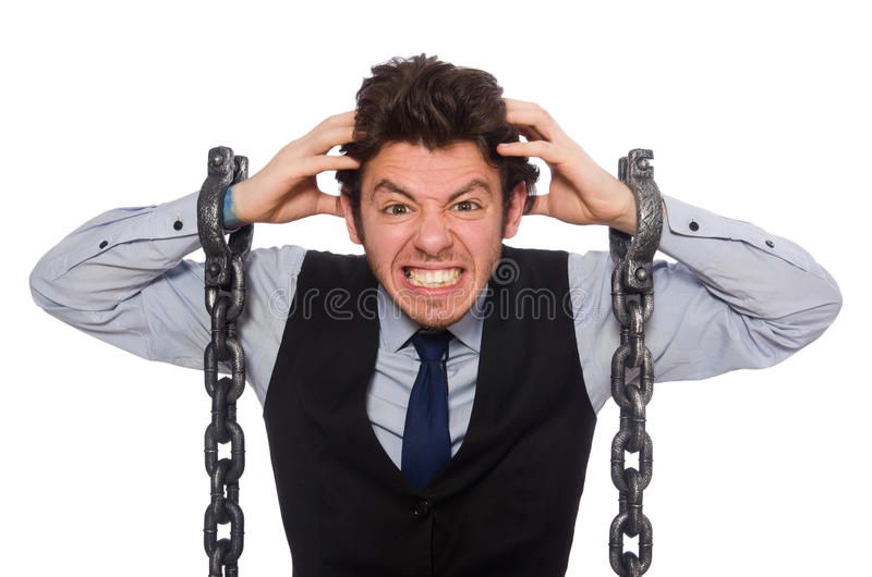 Young businessman in funny concept on white. The young businessman in funny concept on white stock image
