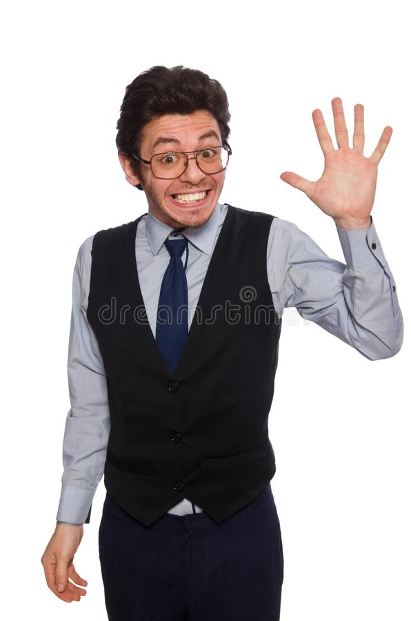 The young businessman in funny concept on white royalty free stock image