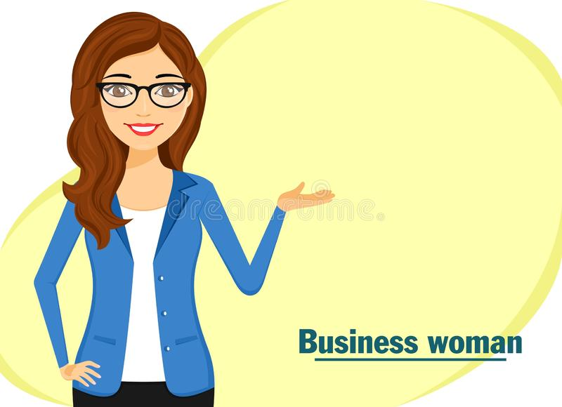 Young businessman girl. The girl in a business suit is depicted to the waist. Hand gesture. Business and Finance stock images