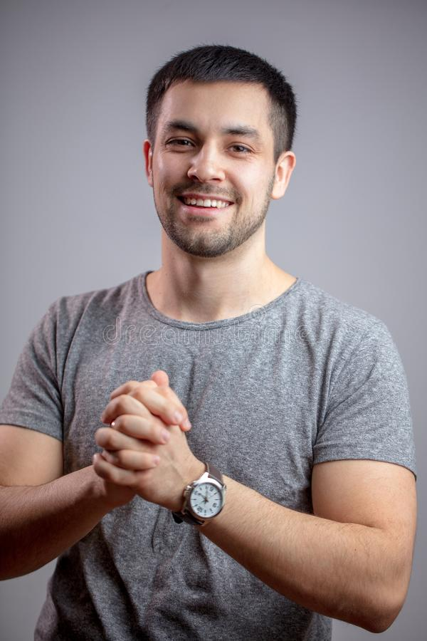 Young businessman is happy as he has done good successful deal. Young businessman is glad as he has done a good successful deal.fortunate day. lucky accident stock image