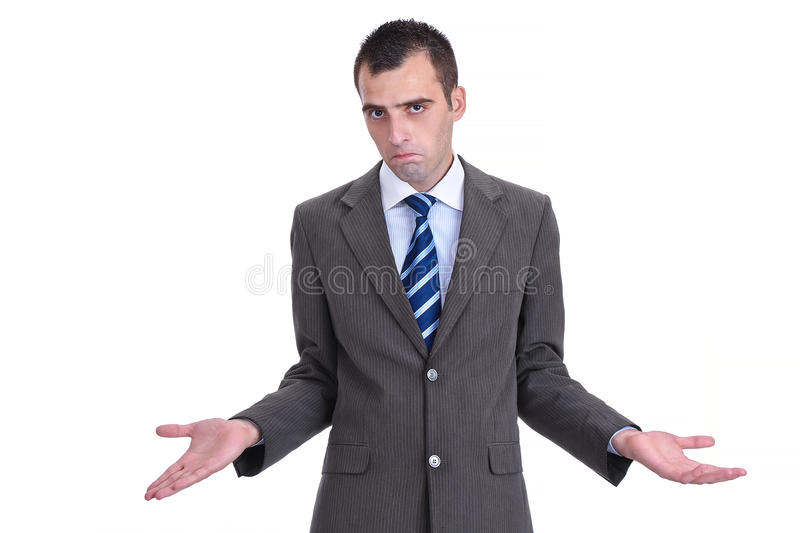 Young businessman in a gray suit rejecting the responsibility, stock photo