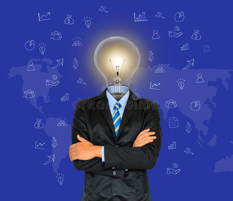 Young businessman have a head as lamp with creativity for success on map background stock image