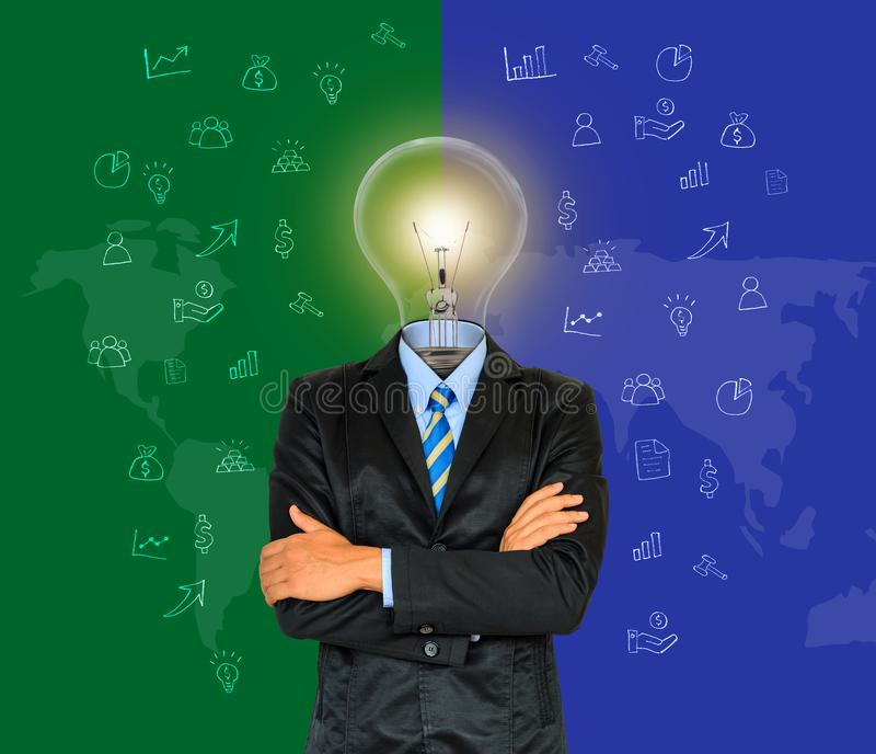 Young businessman have a head as lamp with creativity for success on map background royalty free stock photo
