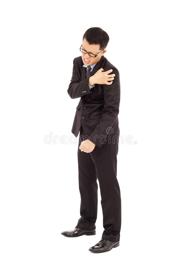 Young Businessman Having  Shoulder Pain Stock Photo