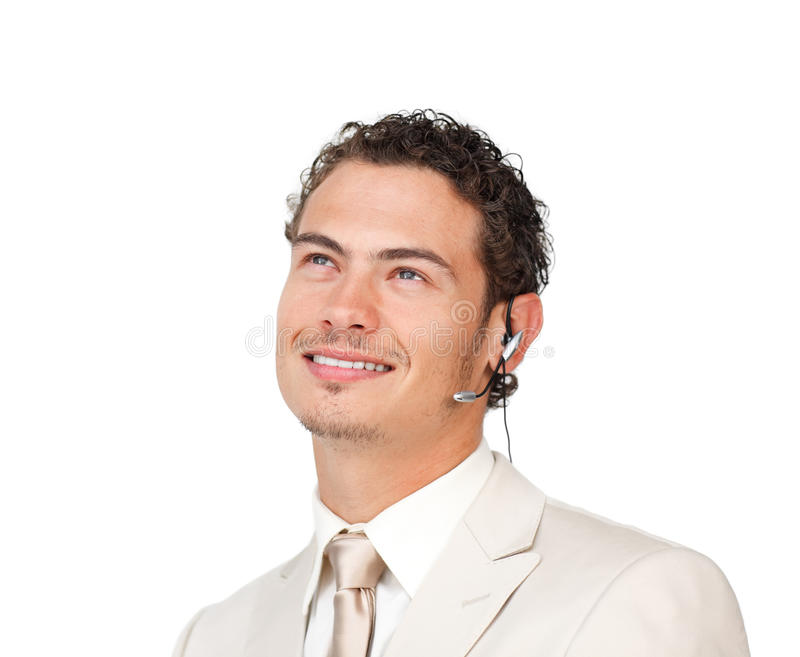 Young Businessman With Headset On Looking Up Stock Photos
