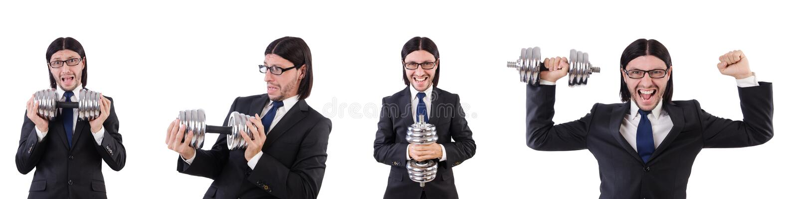 Young businessman holding barbell isolated on white stock photo