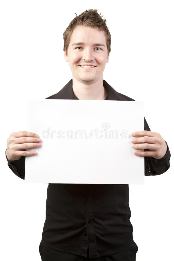 Download Young Businessman Holding Blank Sign Stock Image - Image: 19705613
