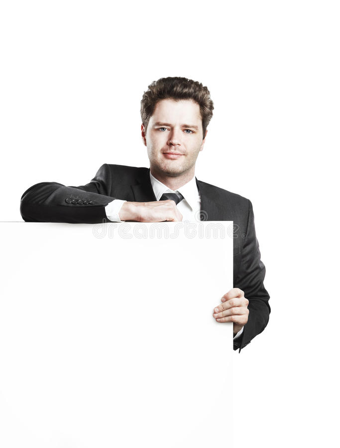 Download Young Businessman Holding A Blank White Board Stock Image - Image: 20920959