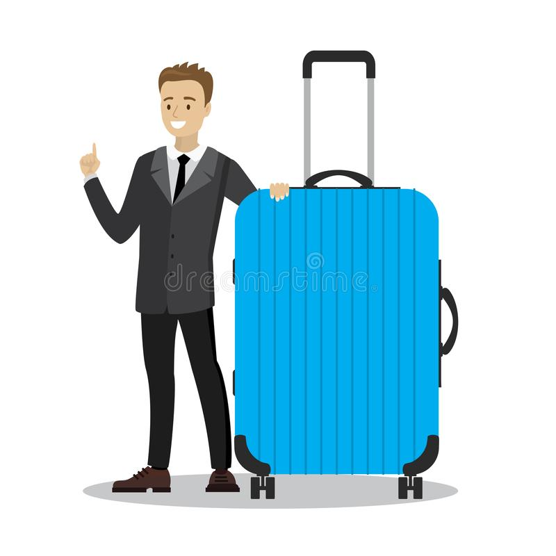 Young businessman holding blue modern suitcase,cartoon smiling m vector illustration