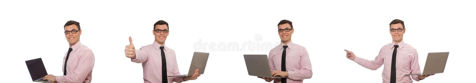 The young businessman isolated on the white royalty free stock image