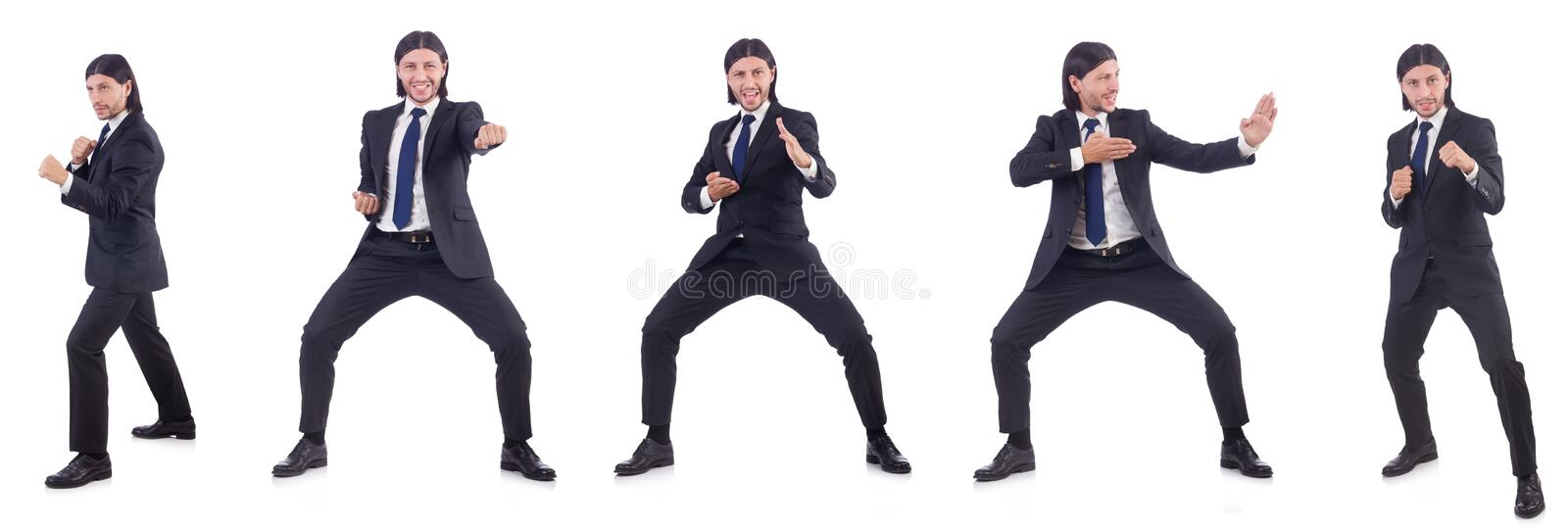 The young businessman isolated on the white background stock photography