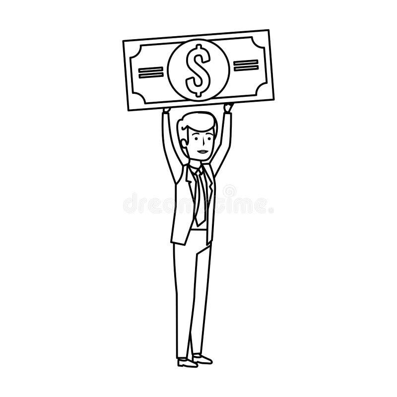 Young businessman lifting bill dollar. Vector illustration design royalty free illustration