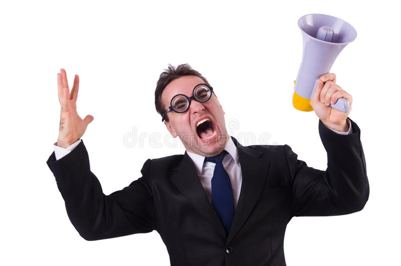 Download Young Businessman With Loudspeaker Stock Image - Image of male, megaphone: 30591235