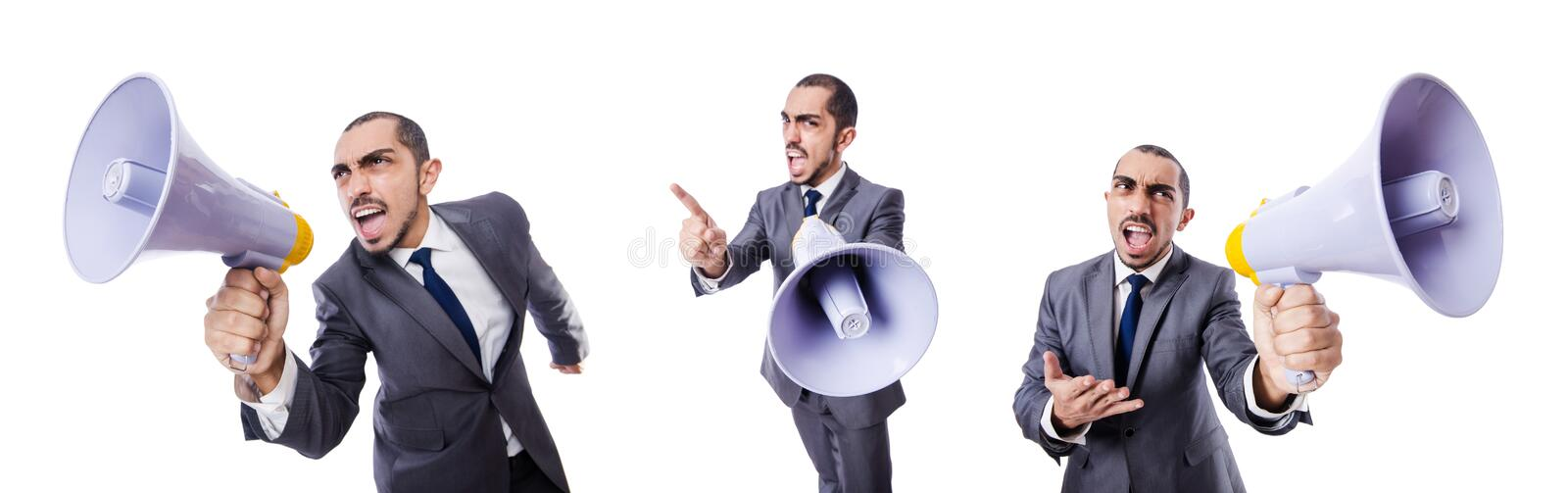The young businessman with loudspeaker on white. Young businessman with loudspeaker on white stock images