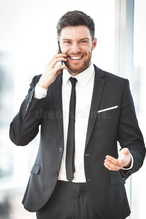 Young businessman in office stock photo