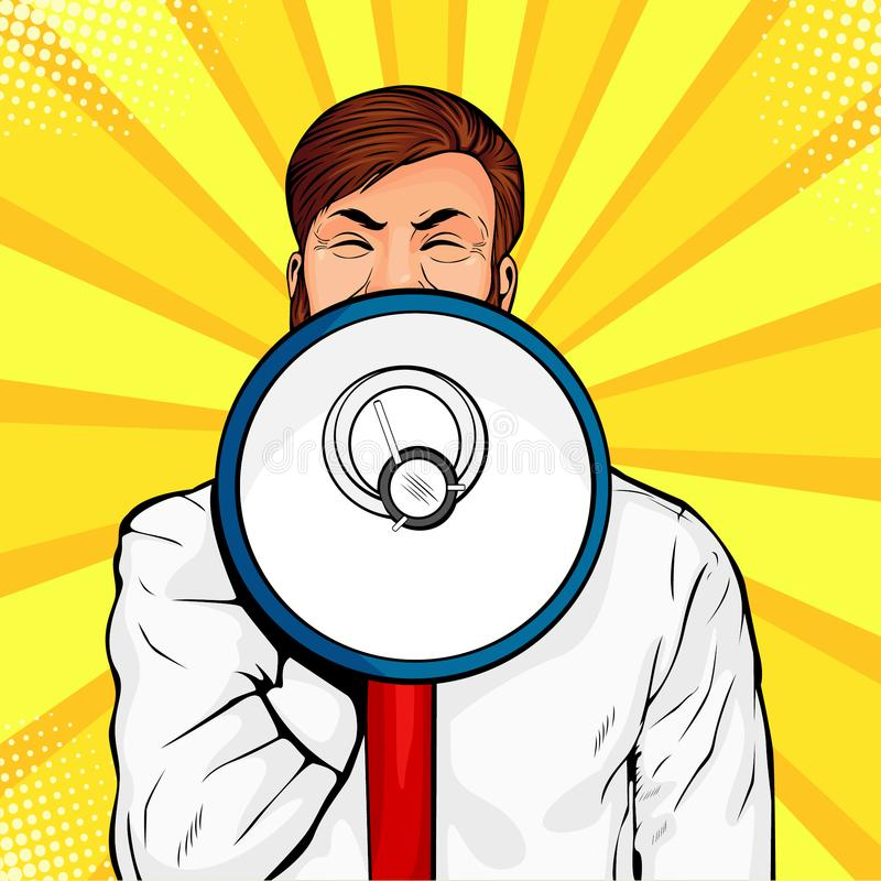 Young businessman with open mouth and megaphone screaming announcement. Colorful vector pop art stock illustration
