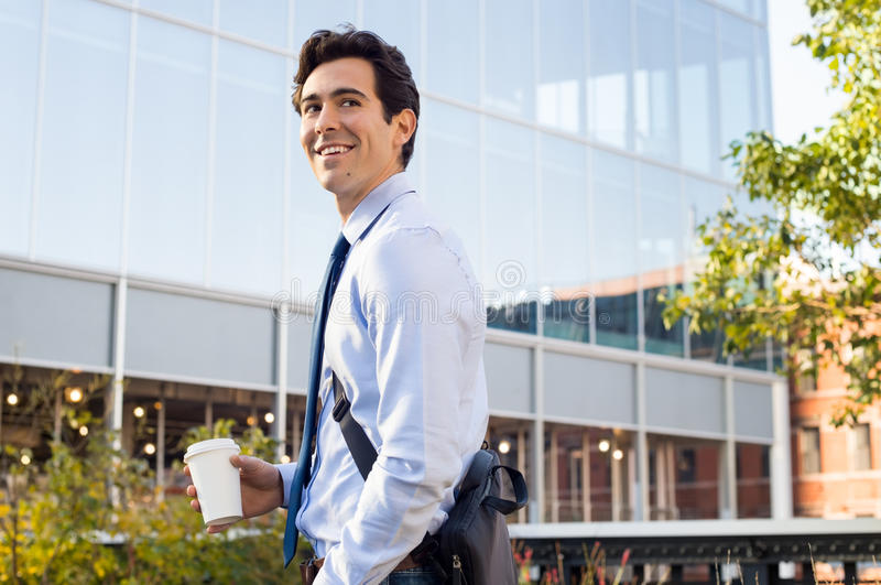 Young businessman outside royalty free stock image