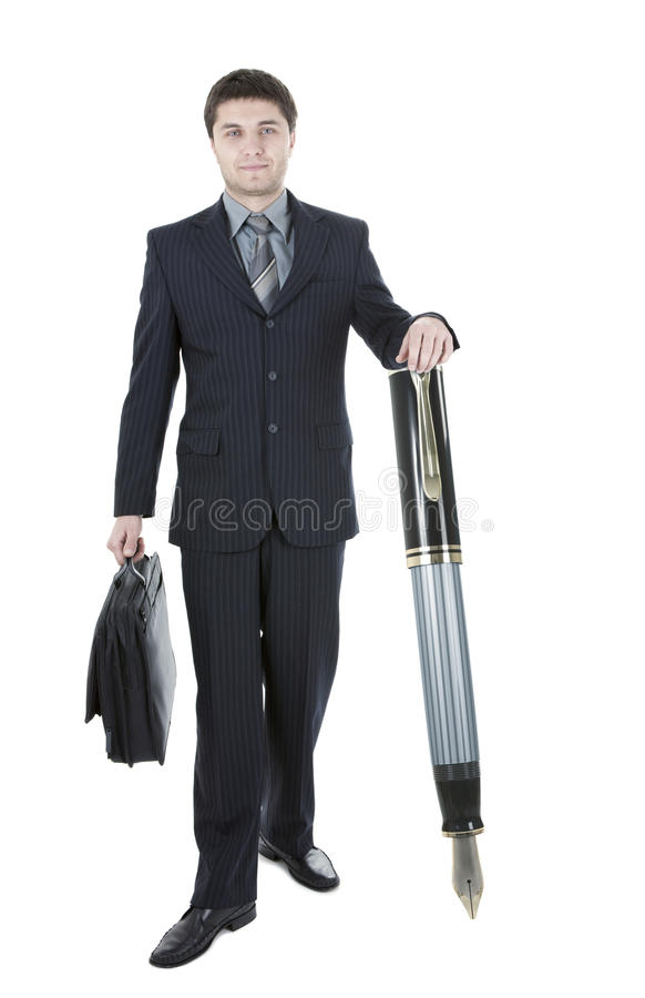 Download Young Businessman with pen stock image. Image of people - 17394863