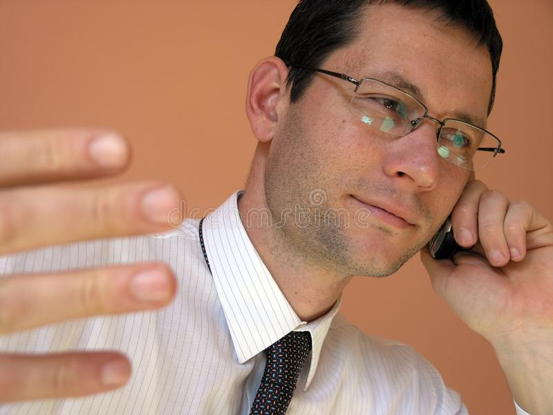 Young Businessman on Phone royalty free stock photography