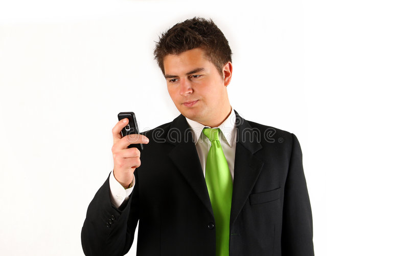 Young businessman with phone stock images