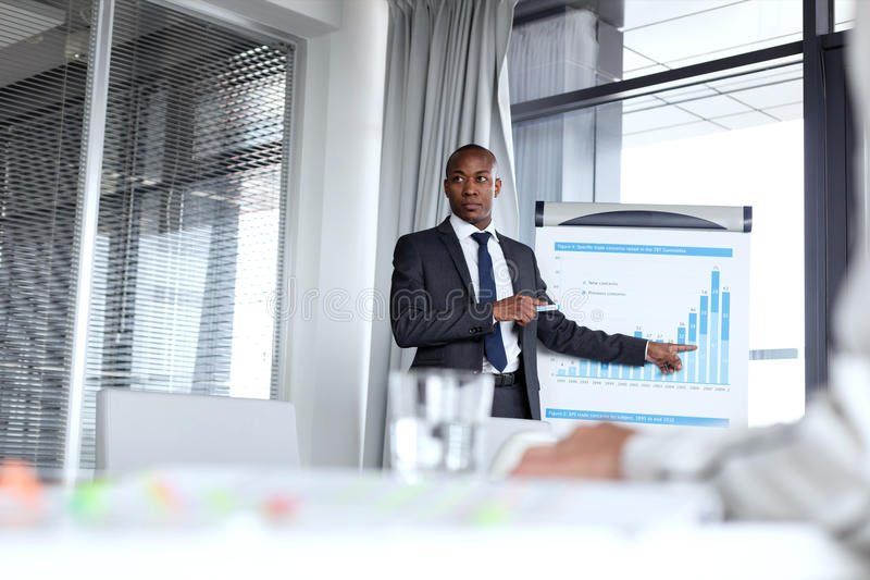 Young businessman pointing towards graph while giving presentation in office.  royalty free stock image