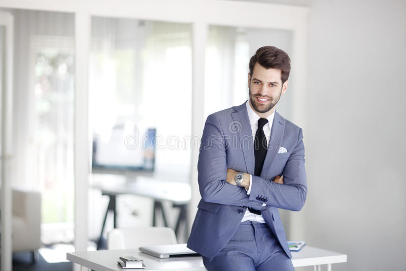 Young businessman portrait. Portrait of executive young marketing manager looking at camera and smiling royalty free stock photo