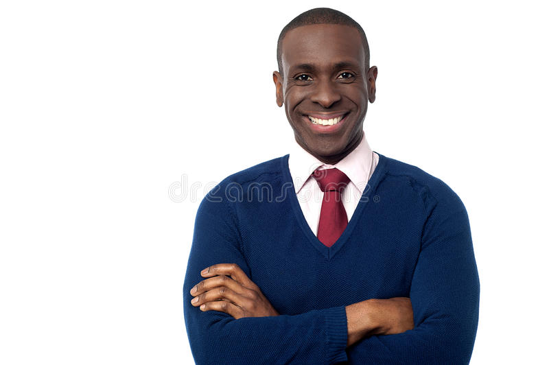 Young businessman posing to camera stock photo
