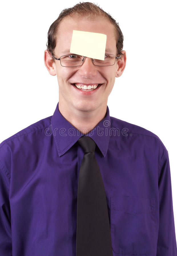 Young Businessman with post-it stock image