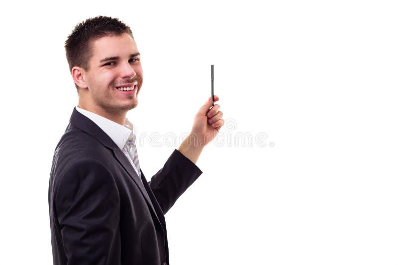Young businessman presenting stock photos