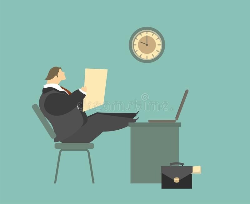 Young Businessman Relaxes Sitting In The Office stock illustration