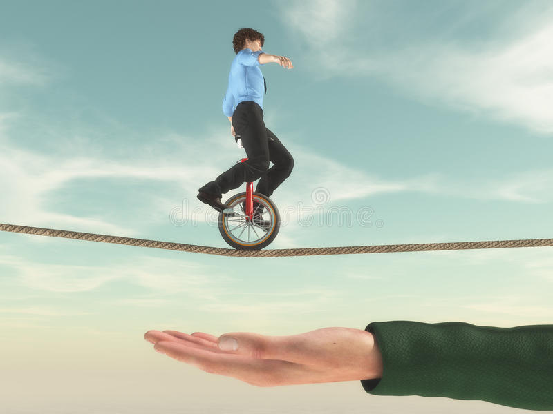 Young businessman riding a bike stock illustration