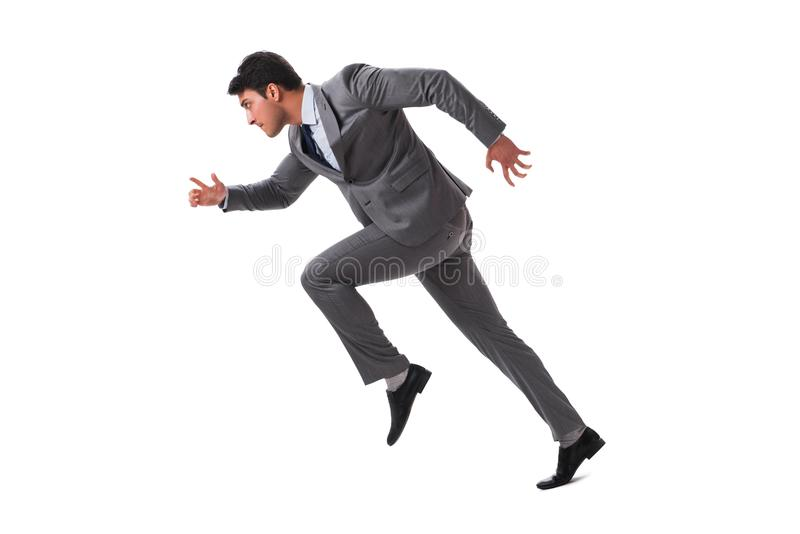 The young businessman running forward isolated on white stock photos
