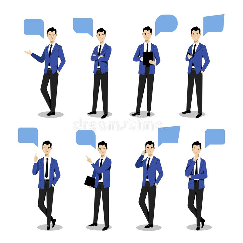 Free Young Businessman Set In Different Poses. Vector Flat Illustration. Man Cartoon Characte, Isolated Design Elements Stock Image - 154687861