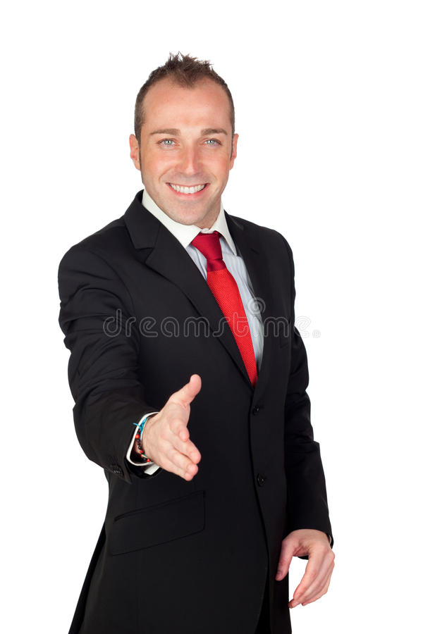 Young Businessman Shaking Royalty Free Stock Photo