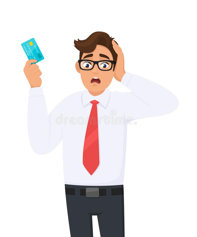 Young businessman shocked with hand on head for mistake, remember error. Forgot, bad memory. Person holding digital payment card. royalty free illustration