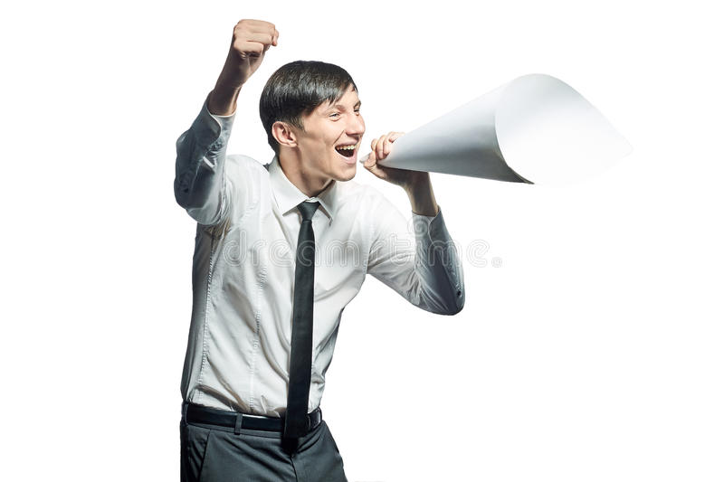 Young businessman shouting with a papers megaphone royalty free stock photos
