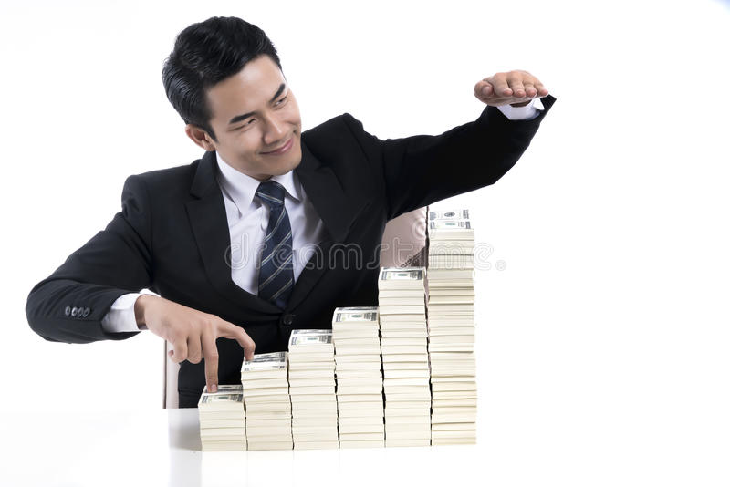 Young businessman show the exponential growth of business invest royalty free stock images