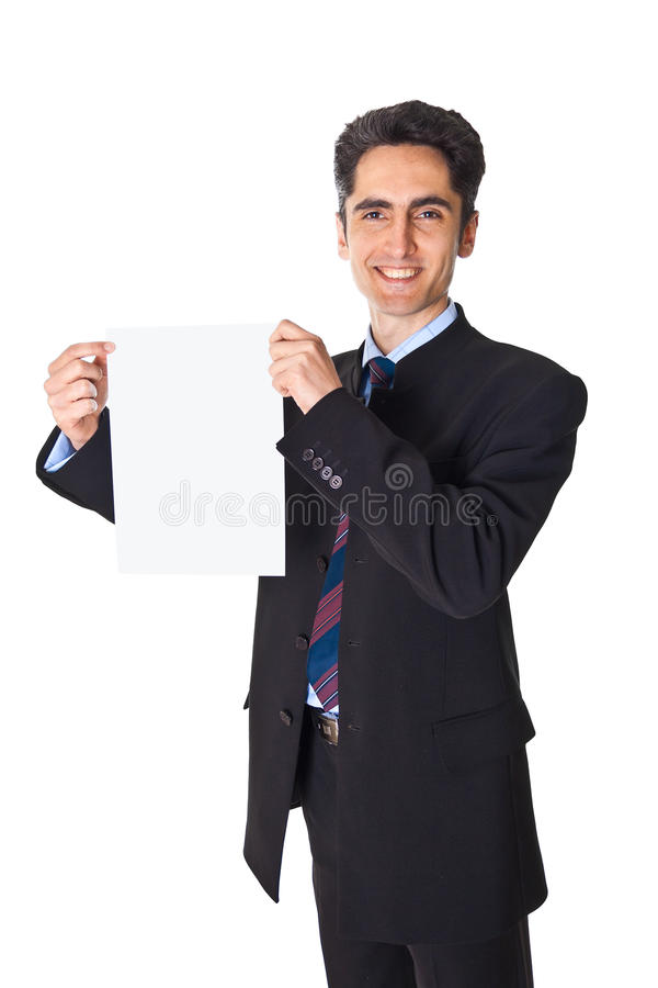 Download Young Businessman Is Showing The Advertisement. Stock Photo - Image: 24627684