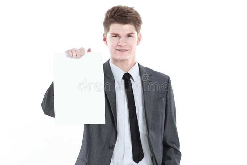 Young businessman showing a blank sheet.isolated on a white. Background royalty free stock photos